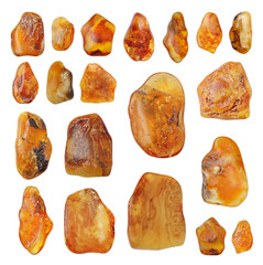 Beautiful natural Baltic amber in bright colors ,collage