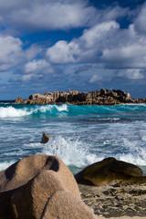 Ocean beach on Praslin Island, Seychelles