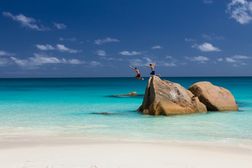Ocean beach on La Digue Island, Seychelles