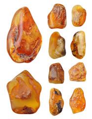 Beautiful natural Baltic amber in bright colors, collage