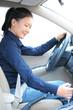 woman driver shift gear stick driving a car