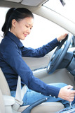 woman driver shift gear stick driving a car