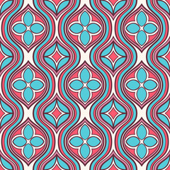vertical pink and turquoise floral pattern