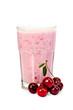 Leinwandbild Motiv Milkshake with cherry in a glass