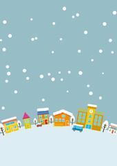 シンプルな雪の降る街並 縦