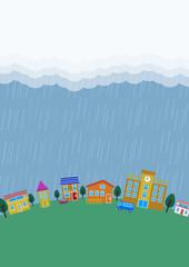 シンプルな雨の降る街並 縦