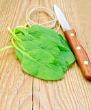 Spinach with a knife and twine on the board