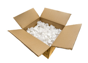 A Cardboard Box with Fill Packaging Peanuts