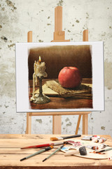still life on the easel