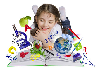 Schoolgirl reading book, knowledge concept