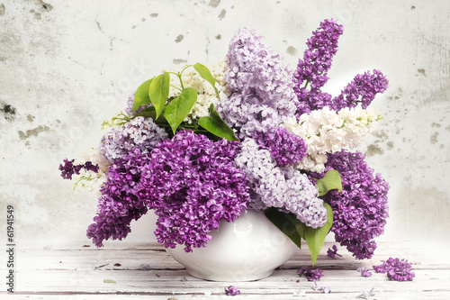 Foto Spatwand Lilac Beautiful Bunch of Lilac in the Vase