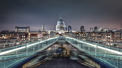 St. Paul's Cathedral & Millennium Bridge at twilight