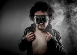 Sensual male biker with sunglasses era dressed Leather jacket, h