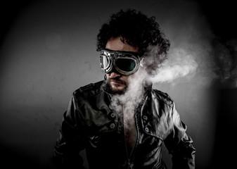 Speed, biker with sunglasses era dressed Leather jacket, huge sm
