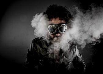 Power, biker with sunglasses era dressed Leather jacket, huge sm