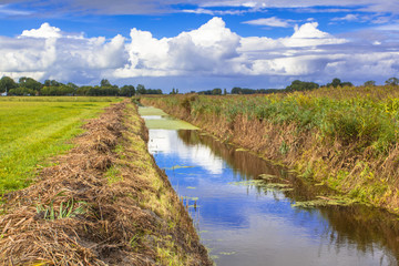 Agricultural Landscape with Recently Dredged Ditch In Friesland,