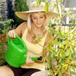 Gärtnerin gießt Pflanze mit Gießkanne