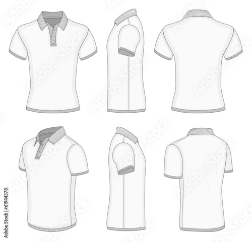 Men's white short sleeve polo shirt.