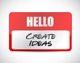 hello create ideas tag illustration design