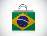 brazil flag shopping bag illustration design