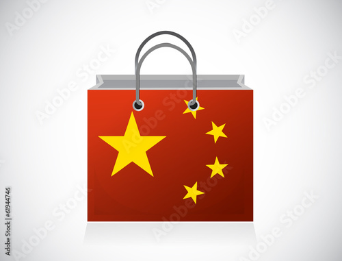 china flag shopping bag illustration design