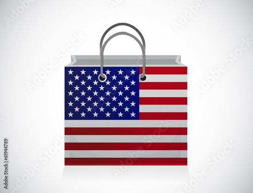 us flag shopping bag illustration design