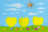 Children's play: yellow harts on blue sky