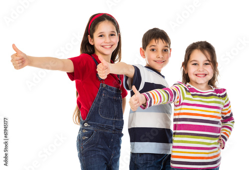 Three kids with thumbs up sign
