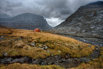 camping in the Nallo Valley in the wilderness of Sweden
