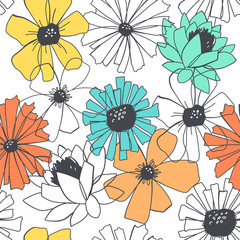 Seamless stylish floral pattern