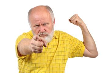 menacing senior bald man