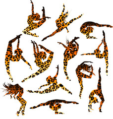 Set of 12 gymnast's silhouettes in leopard print