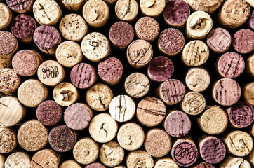 Detail of wine corks in color vintage style
