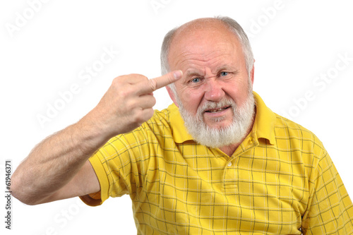 senior bald man shows middle finger