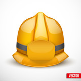 Gold fireman helmet vector illustration