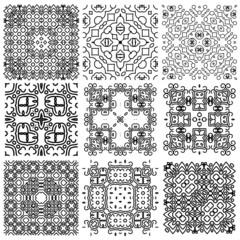 Set of seamless (tile, pattern) vintage design elements.