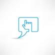 Hand speech bubble icon