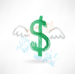 Dollar with wings grunge icon