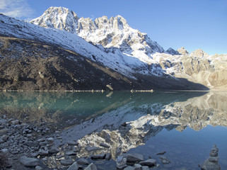Beautiful mountain view of Everest Region with lake, Nepal.