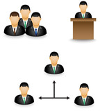 Set of businessman dummy icon in group activity