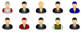 Set of businessman dummy icon in group