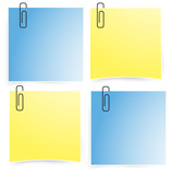 Office paper notepad on the wall icon set (vector)