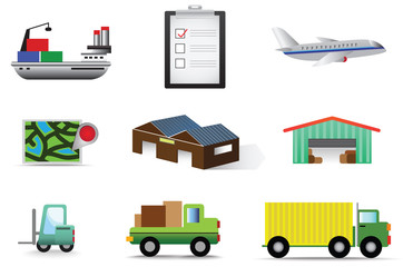Complete logistic and transportation icon collection set