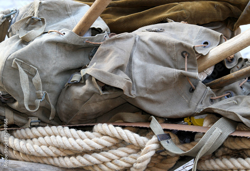 backpack of a soldier of the first world war with the sturdy rop