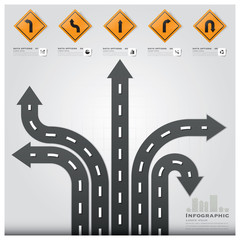 Road And Street Traffic Sign Business Infographic Design Templat