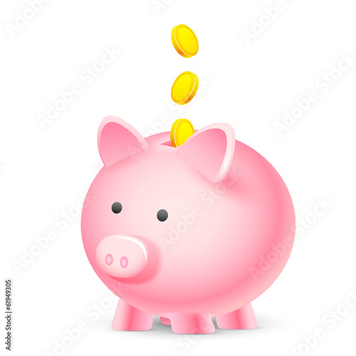 Coin falling into Piggy Bank