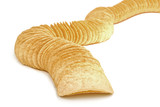 Row of potato chips isolated on white