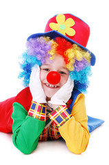 Clown sitting on the floor : white background