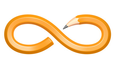 Pencil in the form of an infinity sign
