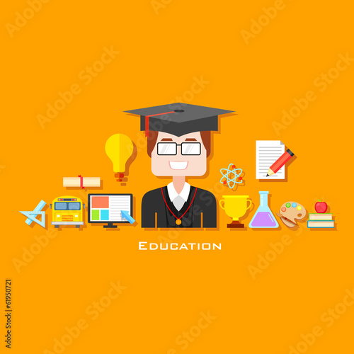 Graduate with Education icon